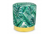 Tropical Green Leaf Round Stool on Gold Base