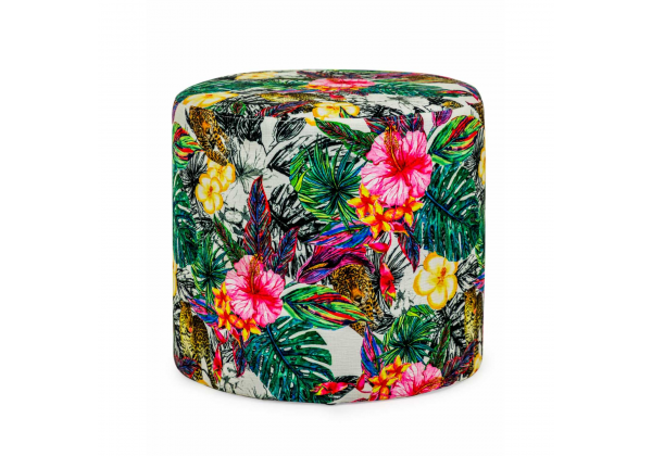 Tropical Fabric Round Footstool