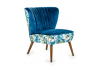 Tropical Blue Velvet Style Winged Occasional Chair
