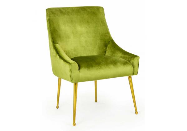 Green Velvet Chair on Brass Legs