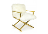 Brass Director's Style Chair with White Mongolian Fur Style Seat