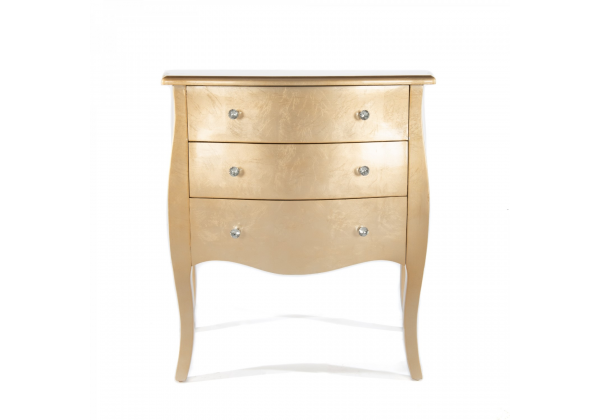 Gold Gilt Leaf Chest Of 3 Drawers