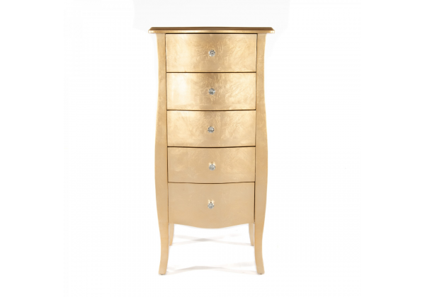 Gold Gilt Leaf Chest Of 5 Drawers
