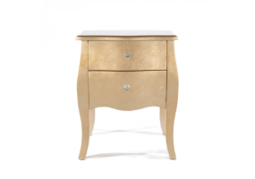 Gold Gilt Leaf Small Bedside Table 2 Drawer