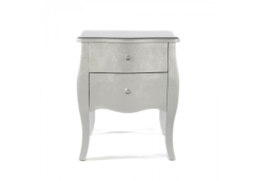 Silver Gilt Leaf Small Bedside Table 2 Drawer