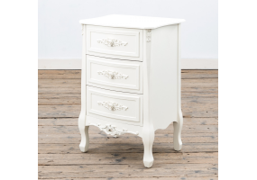 Rose White - Soft White Bedside Table - 3 Drawers