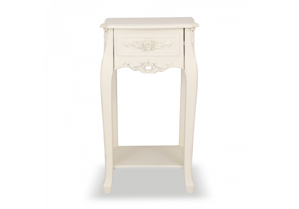 Rose White - Soft White Bedside Console Table - 1 Drawer