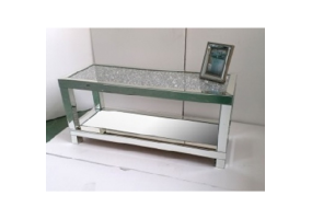Venetian Crushed Diamond Mirrored Coffee Table With Crystal Table Top and Mirrored Shelf