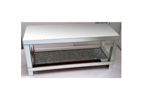 Venetian Crushed Diamond Mirrored Coffee Table With Mirrored Table Top and Crystal Shelf