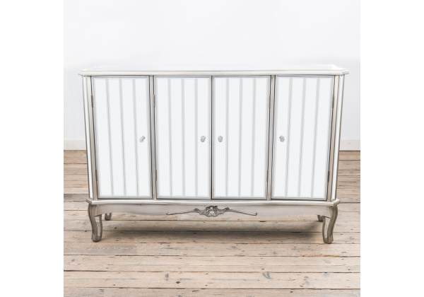 French Vintage Distressed Flat Silver Paint Mirrored Sideboard Cabinet