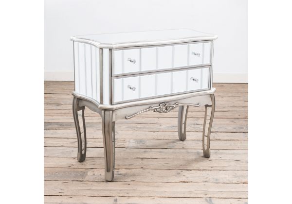 Annabelle French Vintage Distressed Shabby Chic Flat Silver Paint Mirrored Two Drawer Chest of Drawers