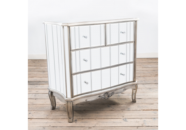 Annabelle French Vintage Distressed Shabby Chic Flat Silver Paint Mirrored Four Drawer Chest of Drawers