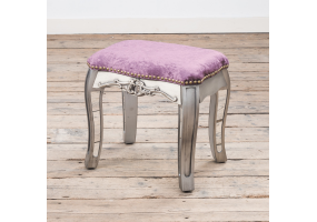 Annabelle French Vintage Distressed Shabby Chic Flat Silver Paint Mirrored Dressing Table Stool