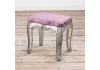 French Vintage Distressed Shabby Chic Flat Silver Paint Mirrored Dressing Table Stool