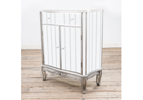 Annabelle French Vintage Distressed Shabby Chic Flat Silver Paint Mirrored Cabinet with Cupboard and Single Drawer