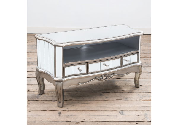 Annabelle French Flat Silver Paint Vintage Distressed Shabby Chic Mirrored Three Drawer Media Unit