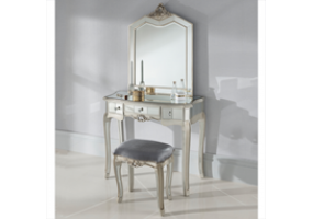 Annabelle French Silver Gilt Vintage Distressed Shabby Chic Mirrored One Drawer Console Dressing Table, Stool and Mirror Set