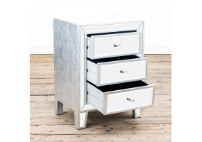 Silver Leaf Mirrored Bedside Table 3 Drawer