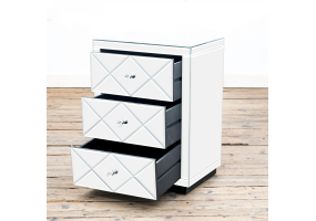 Diamond Mirrored Bedside Table 3 Drawer
