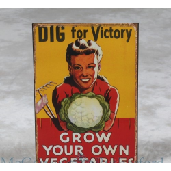 """Dig for Victory"" Antiqued Metal Wall Sign"