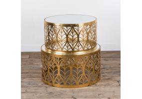 Gold Gilt Leaf Parisienne Metal Nests of Tables