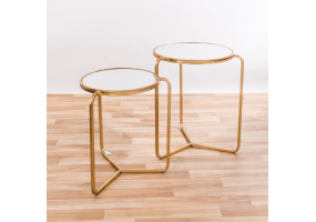 Gold Gilt Leaf Parisienne Set of two Mirrored Metal Nesting Tables