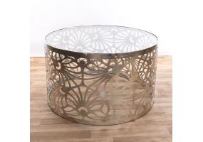 Silver Gilt Leaf Parisienne Metal Coffee Table