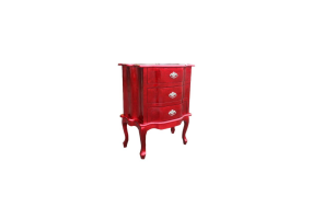 High Gloss Red Bombe Bedside Chest