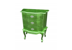 High Gloss Green Bombe Bedside Chest