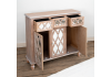 Wood Lattice Mirrored Sideboard Cabinet