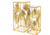 Gold Tropical Leaf Set of 2 Plant Stands with Mirrored Surfaces
