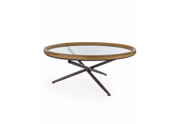 Round Wood with Glass Tripod Base Coffee Table