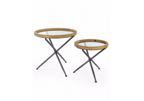 SET OF 2 ROUND WOOD WITH GLASS TRIPOD BASE SIDE TABLES