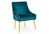 Blue Velvet Chair on Brass Legs