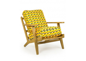 Solid Oak Framed Retro Fabric Arm Chair
