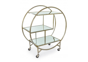 SILVER/CHAMPAGNE LEAF METAL BAR TROLLEY WITH MIRROR SHELVES