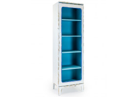 ANTIQUED WHITE METAL PHARMACY STYLE TALL CABINET