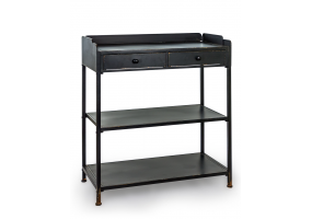 "BLACK METAL ""VERNE"" CONSOLE TABLE WITH SHELVES"