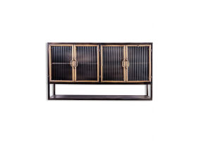 """BLACK AND ANTIQUE GOLD """"ORWELL"""" WIDE METAL WALL CABINET WITH SHELF"""
