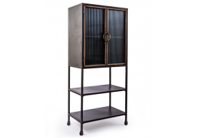 "Black and Antique Gold ""Orwell"" Tall Cabinet with Shelves"