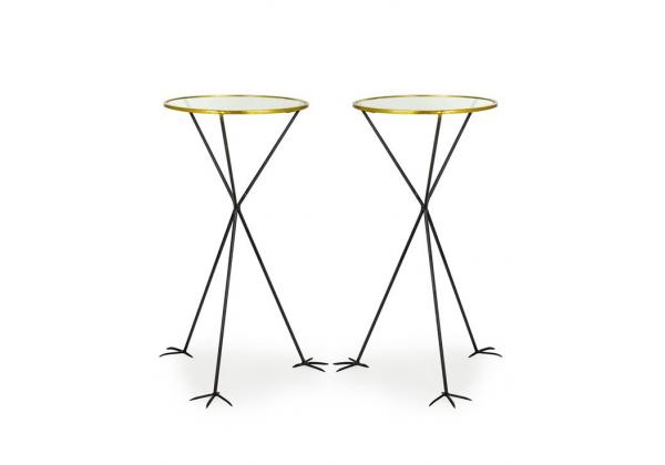 Pair of Round Glass Top Tables on Bird Feet Legs