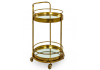 Antique Gold/Bronze Leaf Metal Small Round Bar Trolley with Mirror Shelves