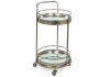 Antique Silver Leaf Metal Small Round Bar Trolley with Mirror Shelves