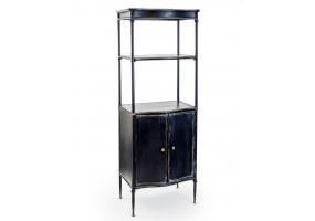 "Black Metal ""Verne"" Tall Shelf Unit with Cupboard"