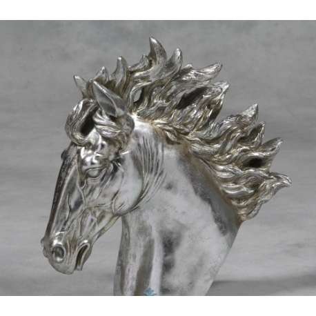 Antique Silver Horse Head Statue Extra Large