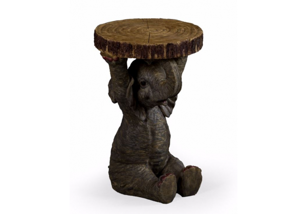 "Elephant Holding ""Trunk Slice"" Side Table"