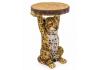 "Leopard Holding ""Trunk Slice"" Side Table"