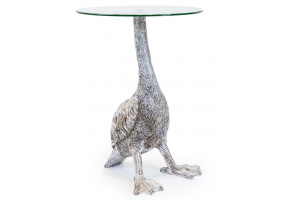 Antiqued Silver Goose Side Table