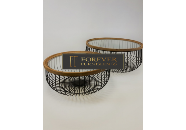 Set of 2 Iron, Wood and Glass Round Coffee Tables