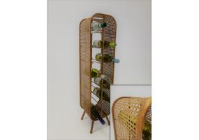 Rustic Metal Rattan Large 14 Bottle Wine Rack